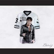 Elvis Presley 3 King of Rock N' Roll White Football Jersey