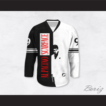 Al Pacino 9 Scarface Black and White Hockey Jersey