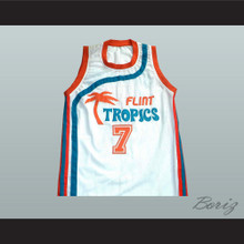 Flint Tropics 7 Coffee Black Basketball Jersey Semi Pro Team New