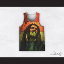 Bob Marley 20 Retro Style Cannabis Striped Basketball Jersey