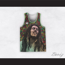 Bob Marley 20 Retro Style Cannabis Music Instruments Line Drawings Basketball Jersey