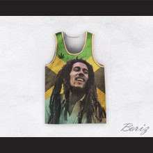Bob Marley 20 Retro Style Cannabis Jamaican Flag Basketball Jersey