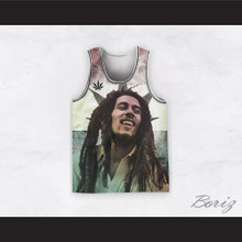Bob Marley 20 Retro Style Cannabis Striped White Basketball Jersey