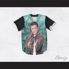 Elvis Presley 1 Green Cityscape Design Baseball Jersey