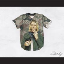 Kurt Cobain 20 Smoking Pistol Camouflage Baseball Jersey