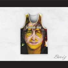 John Lennon 14 Jealous Guy Close Up Peace Basketball Jersey
