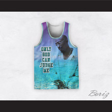Tupac Shakur 12 Only God Can Judge Me Beach Scene Basketball Jersey