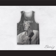 Tupac Shakur 12 Respect Black and White Basketball Jersey