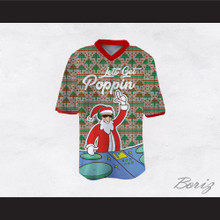 DJ Santa Claus Let's Get Poppin Ugly Christmas Tree Sweater Print Gray Football Jersey