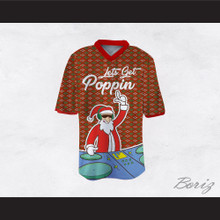 DJ Santa Claus Let's Get Poppin Ugly Christmas Sweater Dye Sub Print Red Football Jersey