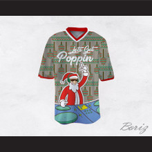 DJ Santa Claus Let's Get Poppin Ugly Christmas Sweater Dye Sub Print Gray Football Jersey