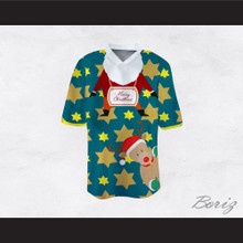 Santa Claus and Reindeer Ugly Christmas Sweater Print Green Football Jersey