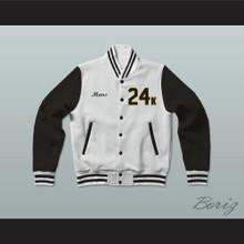 Hooligans 24 K White and Black Varsity Letterman Jacket-Style Sweatshirt