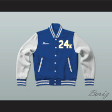 Hooligans 24 K Blue and White Varsity Letterman Jacket-Style Sweatshirt