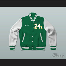 Hooligans 24 K Green and White Varsity Letterman Jacket-Style Sweatshirt