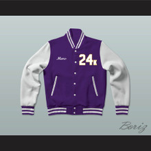 Hooligans 24 K Purple and White Varsity Letterman Jacket-Style Sweatshirt
