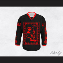 Tupac Shakur 11 Italian Style Black and Red Hockey Jersey