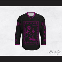Tupac Shakur 11 Italian Style Black and Purple Hockey Jersey