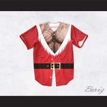 Santa Claus Tunic Hairy Chisel Chest Baseball Jersey