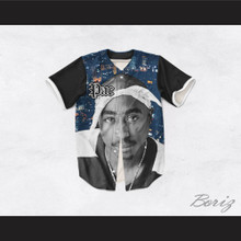 Tupac Shakur 16 Bandana Cityscape with Black Sleeves Baseball Jersey