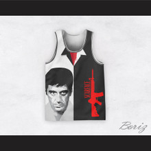 Tony Montana 11 Scarface Black and White Basketball Jersey