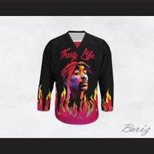Tupac Shakur 05 Thug Life Flames Hockey Jersey