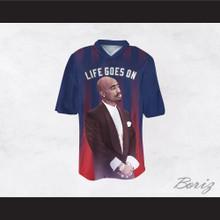 Tupac Shakur Makaveli 6 Life Goes On Blue/Red Football Jersey