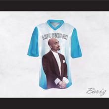 Tupac Shakur Makaveli 6 Life Goes On Light Blue/White Football Jersey