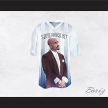Tupac Shakur Makaveli 6 Life Goes On White/Blue Football Jersey