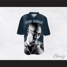Tupac Shakur 24 Thugs Mansion Dark Blue Football Jersey