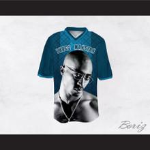 Tupac Shakur 24 Thugs Mansion Blue Pattern Design Football Jersey