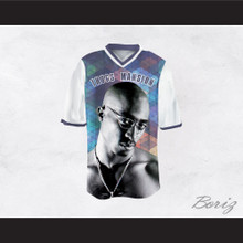 Tupac Shakur 24 Thugs Mansion Square Pattern Design Football Jersey