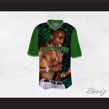 Tupac Shakur 16 2Pacalypse Green Sleeves Football Jersey