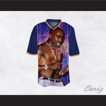 Tupac Shakur 16 2Pacalypse Blue Sleeves Football Jersey