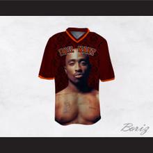 Tupac Shakur Makaveli 06 Hail Mary Maroon Pattern Football Jersey