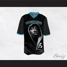 Tupac Shakur 16 Resurrection Black/Light Blue Football Jersey