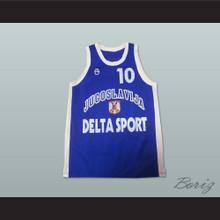 Aleksandar Djordjevic 10 Yugoslavia Basketball Jersey Blue Stitch Sewn