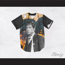 Tony Montana Scarface 45 Burning Baseball Jersey