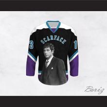 Scarface Tony Montana 13 Black and Purple Hockey Jersey