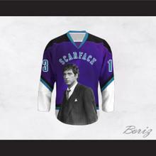 Scarface Tony Montana 13 Purple and White Hockey Jersey