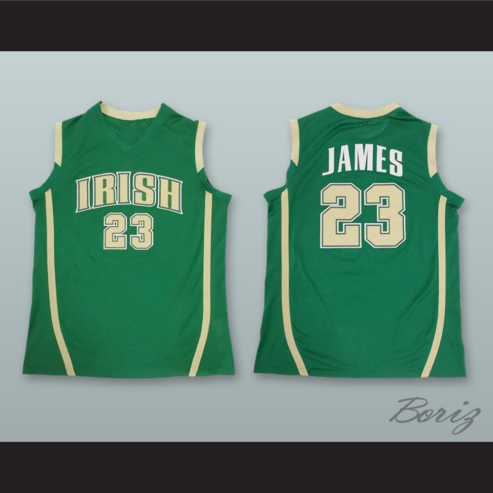 14b2ec1ed8b Lebron James Fighting Irish High School Green Basketball Jersey Stitch  Sewn. Price: $45.99. Image 1. Larger / More Photos