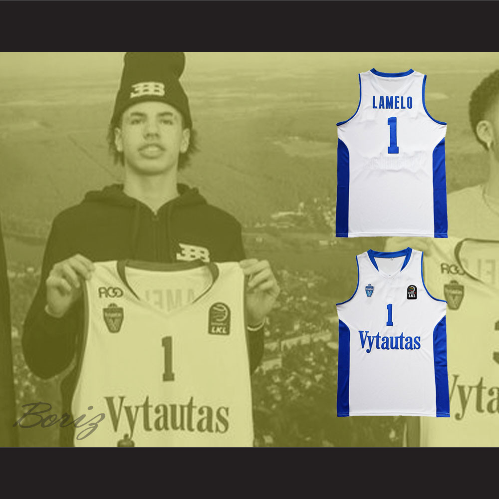 size 40 f6941 66fff Lamelo Ball 1 Lithuania Vytautas White Basketball Jersey