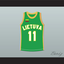 Arvydas Sabonis 11 Lithuania Basketball Jersey Green Stitch Sewn