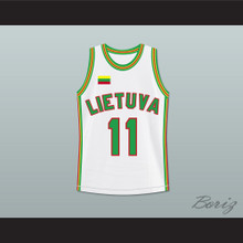 Arvydas Sabonis 11 Lithuania Basketball Jersey White Stitch Sewn