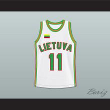 Arvydas Sabonis 11 Lithuania Basketball Jersey White