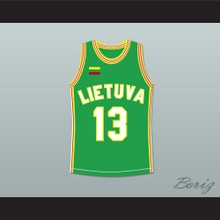 Sarunas Marciulionis 13 Lithuania Basketball Jersey Green Stitch Sewn