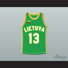 Sarunas Marciulionis 13 Lithuania Basketball Jersey Green