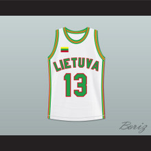 Sarunas Marciulionis 13 Lithuania Basketball Jersey White