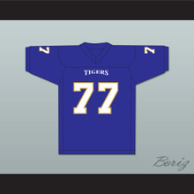 O.C. Brown 77 Manassas Tigers High School Blue Football Jersey Undefeated