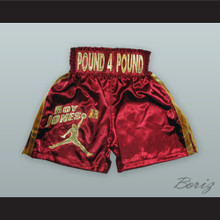 Roy Jones Jr. Maroon/Gold Boxing Shorts